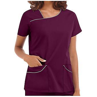 נשים עם שרוול קצר V-neck Care Care עובדים חולצת טריקו חולצות קיץ