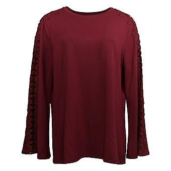 DG2 by Diane Gilman Women's Top Bell-Sleeve Crochet Lace Trim Purple 667436