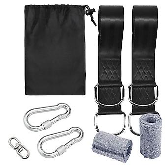 8pcs Tree Swing Straps Hanging Kit Holds 1000kg With Two Heavy Duty Carabiners Camping Hammock Accessories Cot Bed Straps (preto)