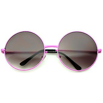 Super Oversize slanke tempel Neon Frame ronde zonnebril 61mm