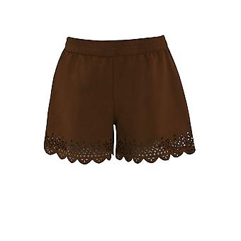 Ex Monsoon Rust Suedette jenter Shorts med Laser Cut Hem