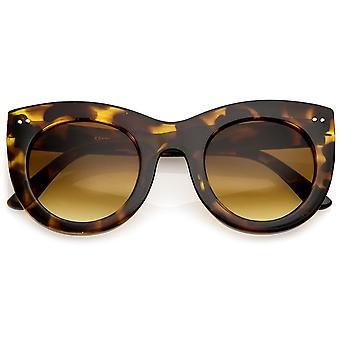 Women's Bold Chunky Cat Eye Sunglasses With Neutral Color Round Lens 49mm