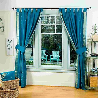 Indo Turquoise Tab Top Sari Sheer Curtain (43 in. x 84 in.) w/ matching tieback