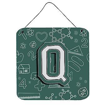 Letra Q volta para escola inicial parede ou porta-impressões de suspensão