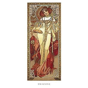 Automne 1900 Poster trykk av Alphonse Mucha (9 x 20)