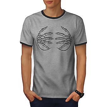 Skelett Hände Männer Heather Grey / Heather dunkles GreyRinger T-shirt | Wellcoda