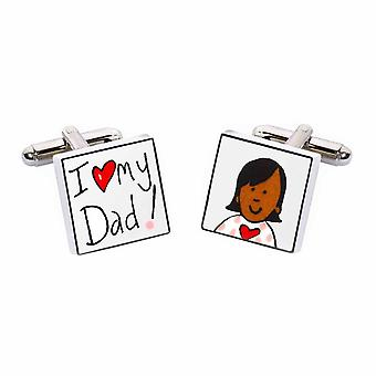 I Love My Dad Cufflinks by Sonia Spencer, in Presentation Gift Box. Hand painted
