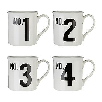 Premier Housewares Satz von 4 Zahlen Tassen