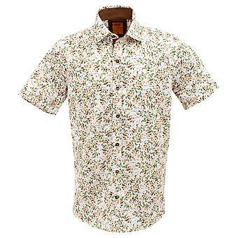 Oscar Banks Cotton Short Sleeved Yellow Blossom Print Mens Shirt
