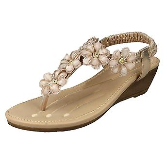 Ladies Savannah Mid Wedge Toepost Sandals F10781 - Gold Synthetic - UK Size 8 - EU Size 41 - US Size 10