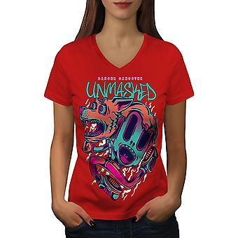 Gangsteri Unmasked Funy Women RedV-Neck T-paita | Wellcoda, mitä sinä olet?