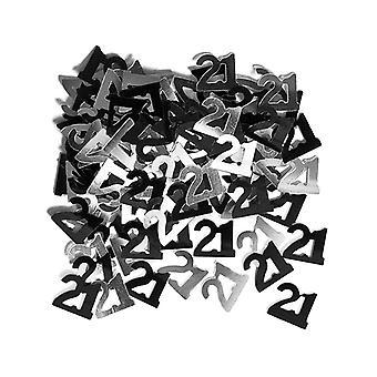 Syntymäpäivä Glitz musta & hopea 21 syntymäpäivä-confetti