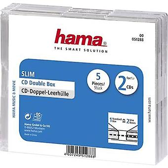 Hama 2x CD slimline jewel case 2 CDs/DVDs/Blu-rays Polystyrene Transparent 5 pc(s) (W x H x D) 125 x 142 x 5.2 mm 00051288