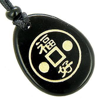 Fortune Lucky Coin cirkel sort Onyx Amulet Word sten halskæde