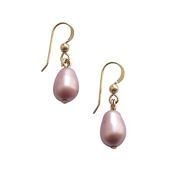 Gemshine Damen Ohrringe Perlen Rose Lavendel Tropfen Vergoldet 11 mm