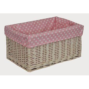 Medium Pink Spotty Lined Storage Basket