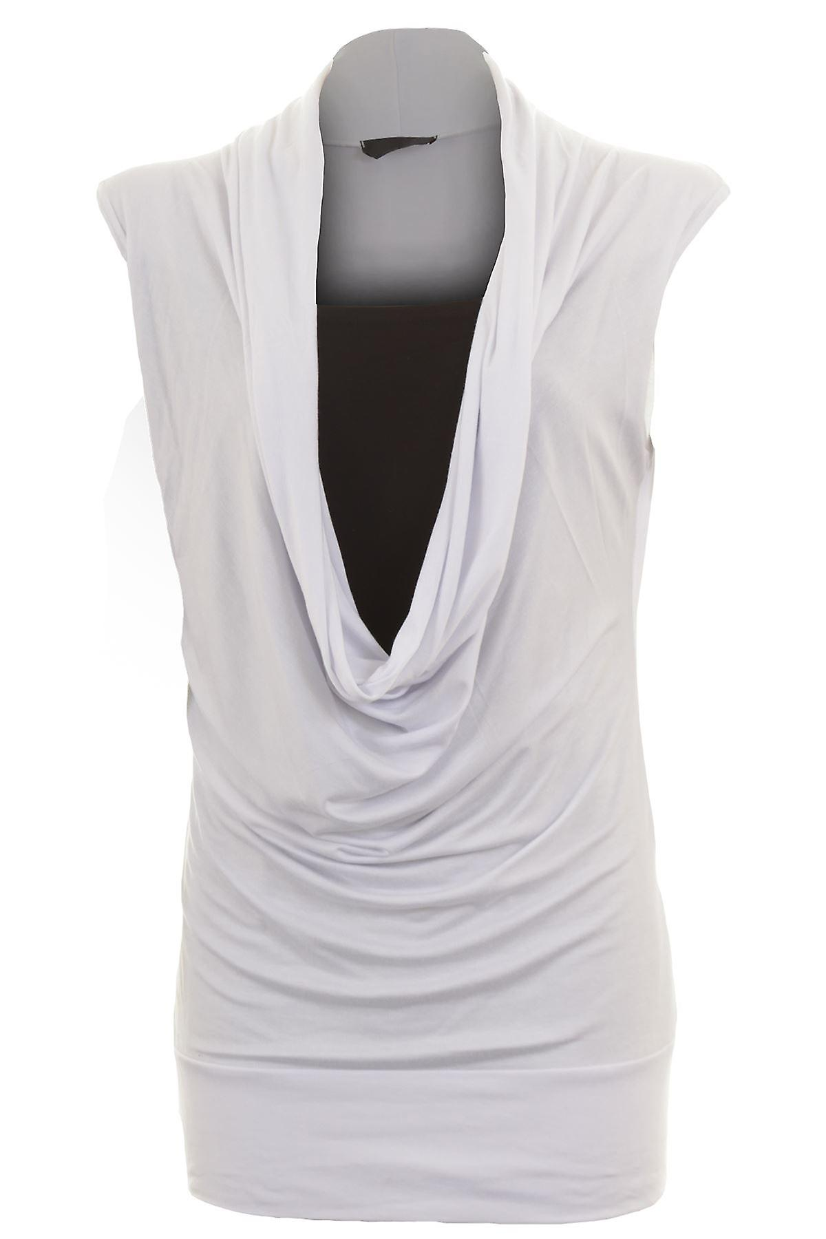 Ladies Gathered Cowl Neck Stretch Sleeveless Long Women's Plus Size top