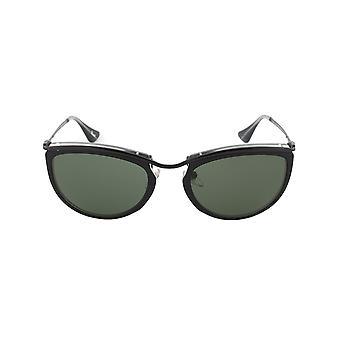 Persol PO3082S 1004/31 solglasögon | Svart och Matt Crystal ram | Grå lins