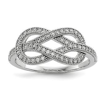 925 Sterling Silver and CZ Cubic Zirconia Simulated Diamond Brilliant Embers Love Knot Ring Size 6 Jewelry Gifts for Wom