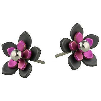 Ti2 Titanium Black zurück fünf Blütenblatt Blume Ohrstecker - Candy Pink