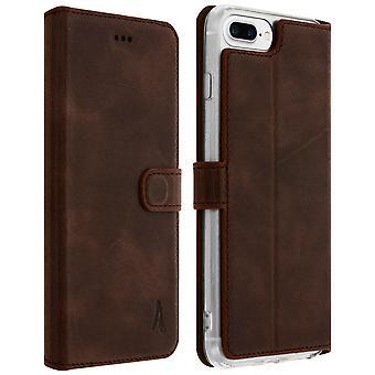 Akashi slank case, ekte skinn lommebok dekselet for iPhone 6 / 6 / 7 / 8 + - Brown