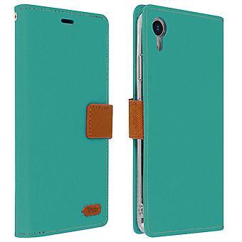 Roar flip wallet case, built-in card slot & stand for Apple iPhone XR - Blue