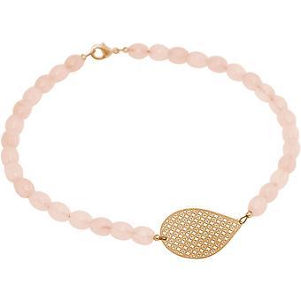 GEMSHINE gargantilha colar: Yoga e quartzo rosa. Prata, banhado a ouro, rosa