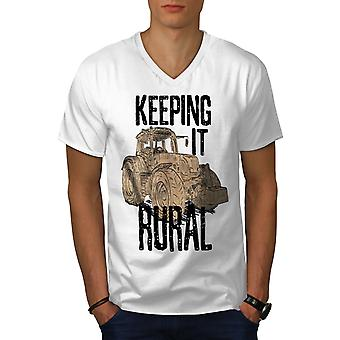 Halten Sie es ländliche Männer WhiteV-Neck T-Shirt | Wellcoda