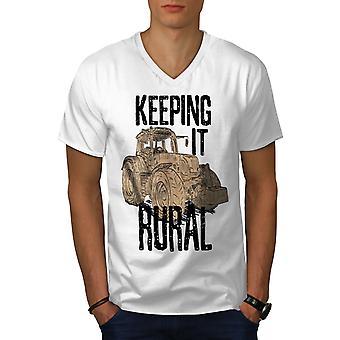 Keeping It Rural Men WhiteV-Neck T-shirt | Wellcoda