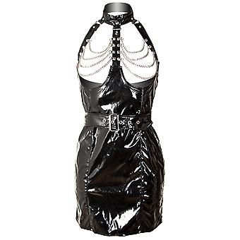 Honour Women's Sexy Micro Dress in Naughty Staple PVC Black Outfit