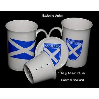 English Bone China Mug, Lid and Infuser Souvenir of Scotland