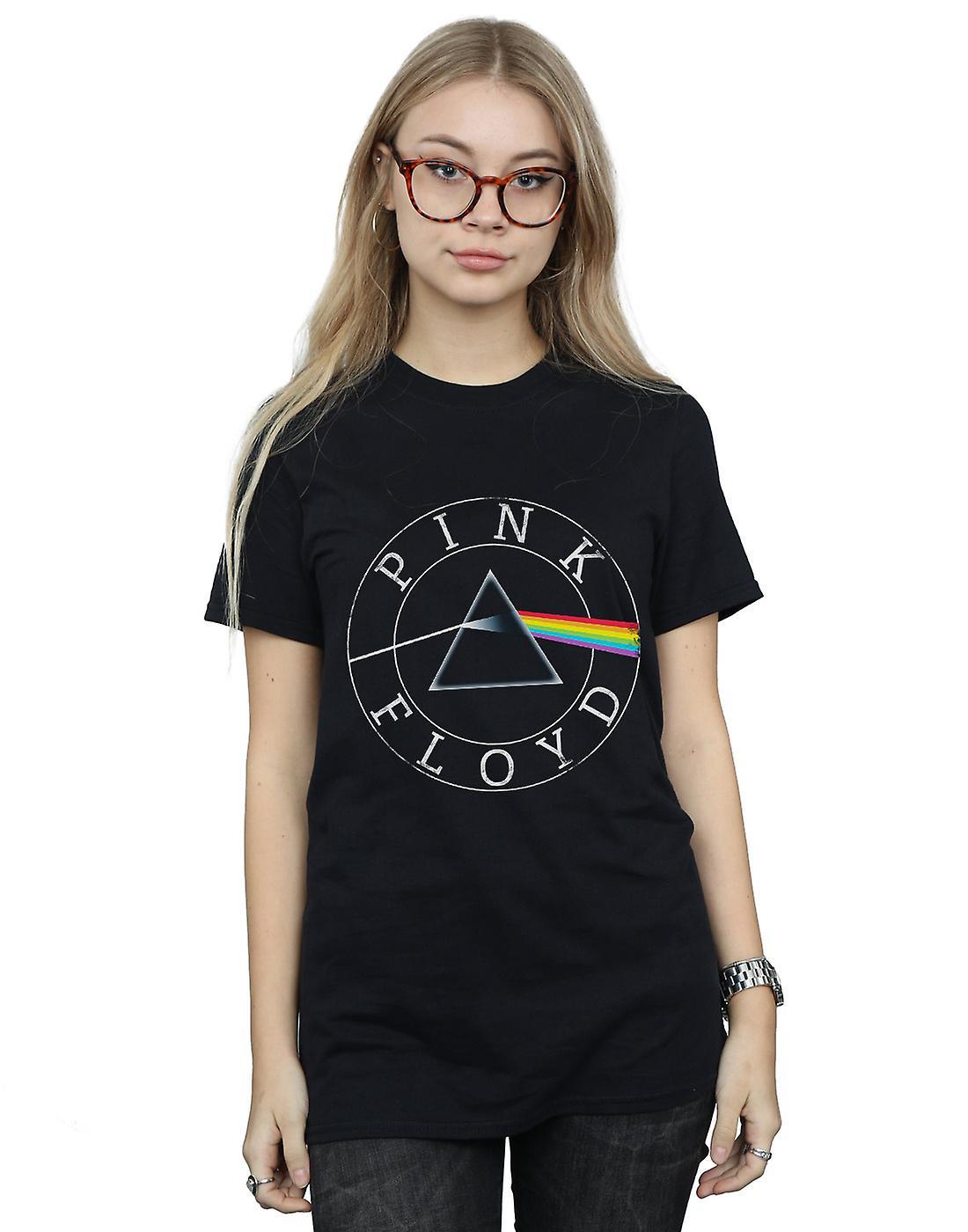 Pink Floyd Women's Prism Circle Logo Boyfriend Fit T-Shirt