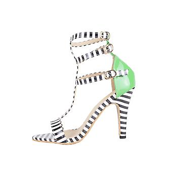 Lovemystyle Black And White Stripe Caged Sandals With Green Heel