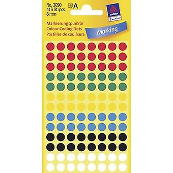 Avery-Zweckform 3090 Sticky dots Ø 8 mm Red, Green, Yellow, Blue, Black, White 416 pc(s) Permanent Paper