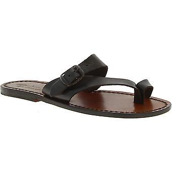 Thong sandalen van leer voor vrouwen bruine kleur leer