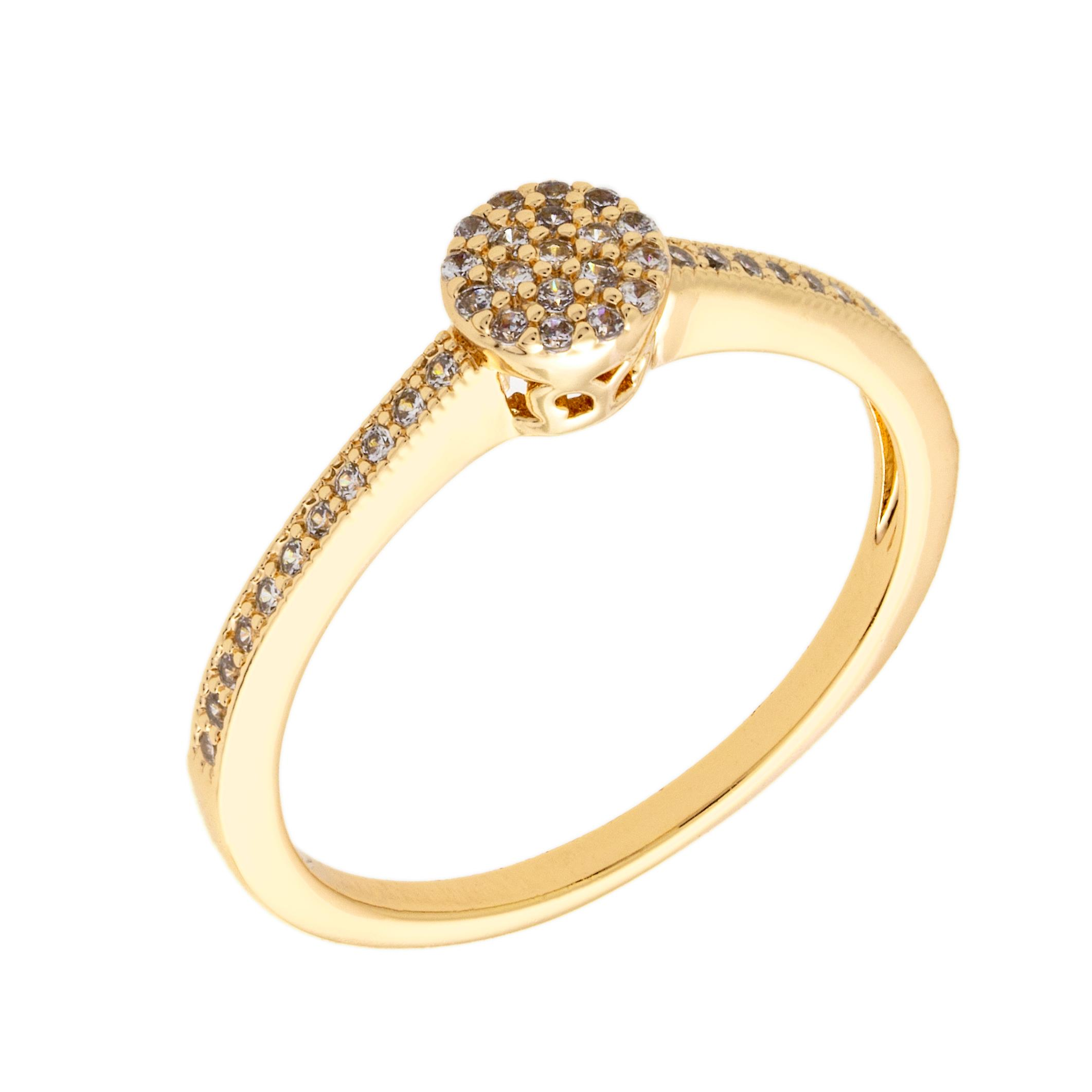 Bertha Sophia Collection Women's 18k YG Plated Stackable Pave Fashion Ring Size 6
