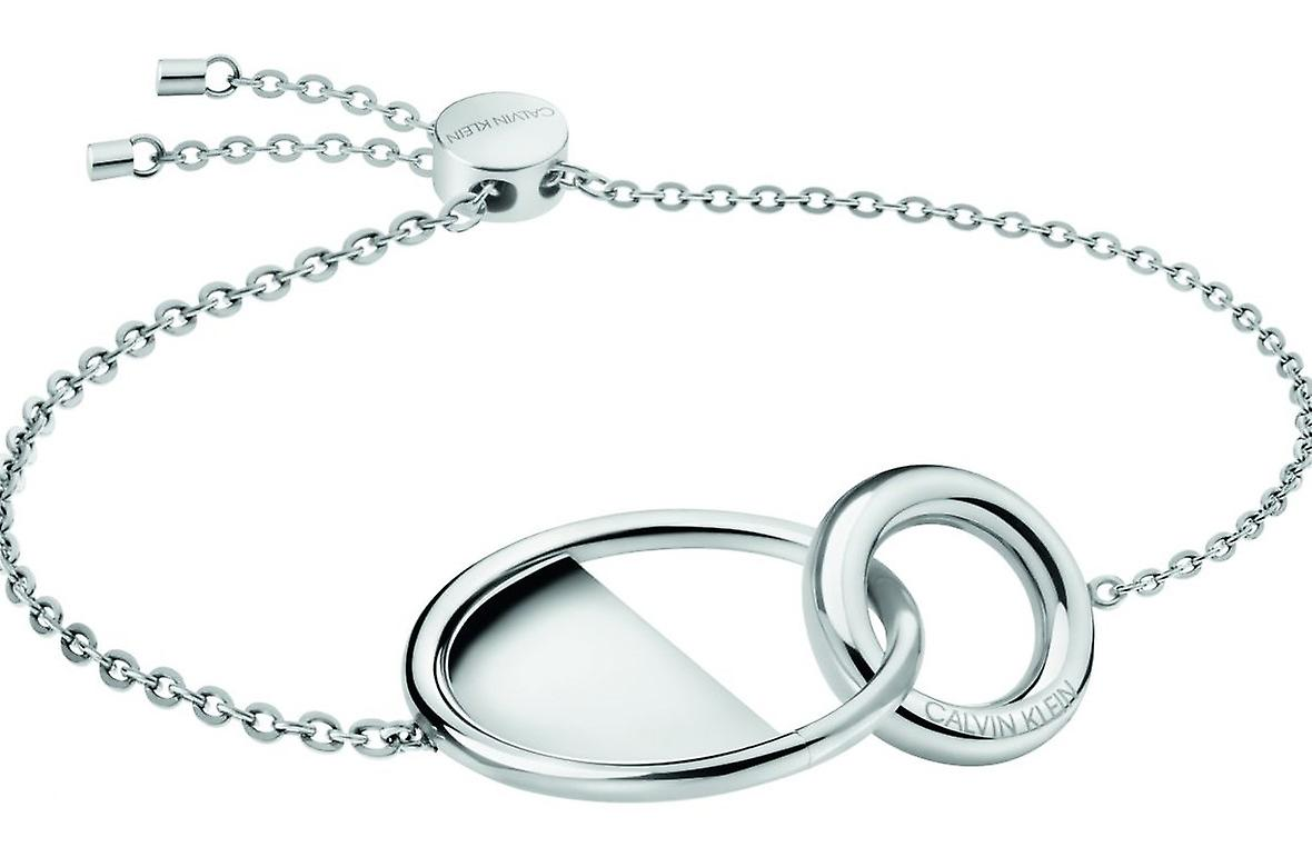 Calvin Klein Silver Plated Stainless Steel Ladies Locked Bracelet kj8gmb000100