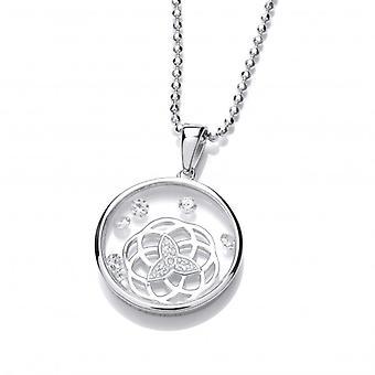 Cavendish französischen Celestial Silver und CZ Celtic Himmel Anhänger mit Silber Kette