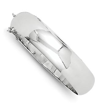 925 Sterling Silver Hollow Polished Flat back Box Catch Closure 15mm Fancy Hinged Cuff Stackable Bangle Bracelet Jewelry