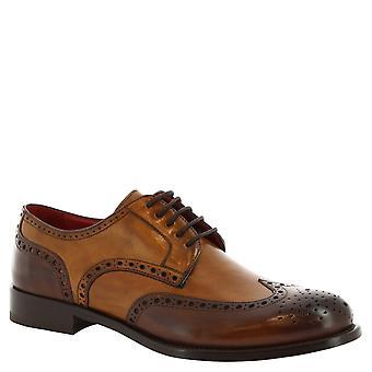 Leonardo Schuhe Man handgemachte Schnürschuh mit Brogue aus braunem Leder
