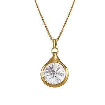 Eternal Collection Rivoli Clear Austrian Crystal Gold Tone Pendant Necklace
