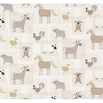 Granja animales patrón Childrens Wallpaper caballo perro vaca oveja collage Rasch