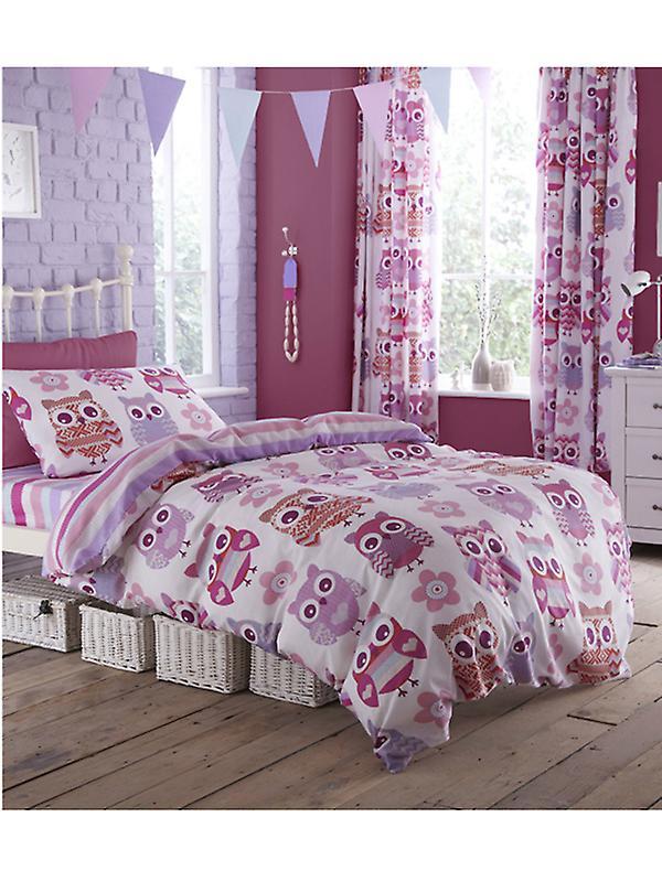 Catherine Lansfield Owl Single Duvet Cover & Pillowcase Set