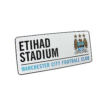 Manchester City FC Etihad stadion gade skilt