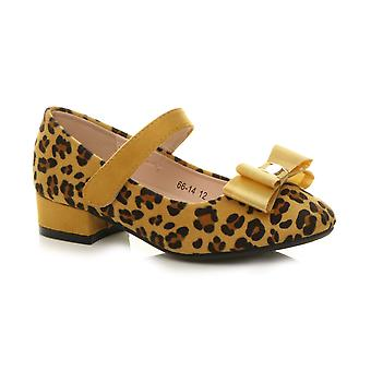 Ajvani girls low heel mary jane bow strap party evening shoes