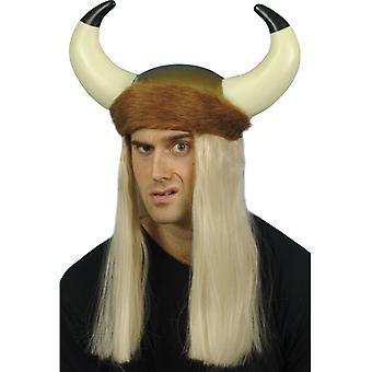 Viking hjelm med hår horn pels store Viking hjelm