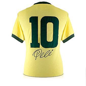 Pele Firmato Brasile Calcio Camicia: Numero 10