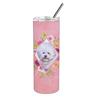Bichon Fris� #2 Pink Flowers Double Walled Stainless Steel 20 oz Skinny Tumbler