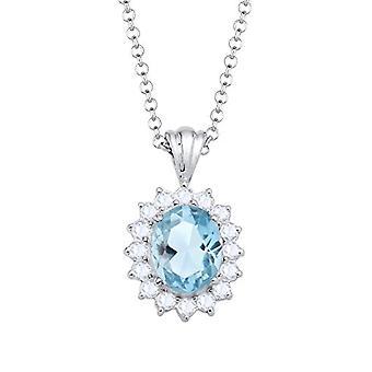 Elli Necklace with Women's Pendant in Silver 925 with Topazio Blue - 45 cm
