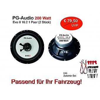 PG audio EVO II 16.2, 16 cm coax speakers, 1 pair fits Fiat, Alfa, Lancia and Chrysler
